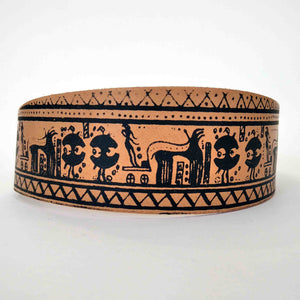 Geometric period leather bracelet geometrical painting