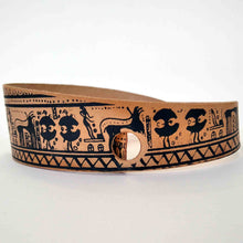 Load image into Gallery viewer, Geometric period leather bracelet horse