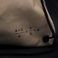Load image into Gallery viewer, unisex Golden Ratio goat leather silkscreen backpack slingbag Drawstring bag back formula detail