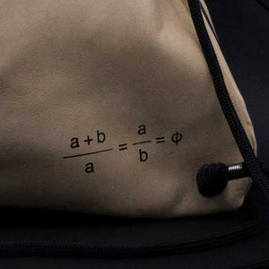 unisex Golden Ratio goat leather silkscreen backpack slingbag Drawstring bag back formula detail