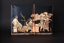 Load image into Gallery viewer, Large goat leather silkscreen portfolio with the abduction of the daughters of Leucippus from a sanctuary of Aphrodite - front