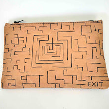 Load image into Gallery viewer, Leather pouch with zipper minotaurus labyrinth back
