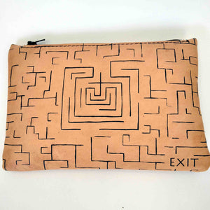 Leather pouch with zipper minotaurus labyrinth back