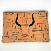 Load image into Gallery viewer, Leather pouch with zipper minotaurus labyrinth front