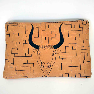 Leather pouch with zipper minotaurus labyrinth front