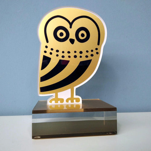 Owl of Athens bookstand, handmade plexiglass and silkscreen printed. Unique Greek gift