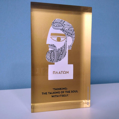 Plato, the philosopher decorative design object - paper weight.  Double sided. Plexiglass art, screenprint, lazer cut & hand polished.  Unique silkscreen method.