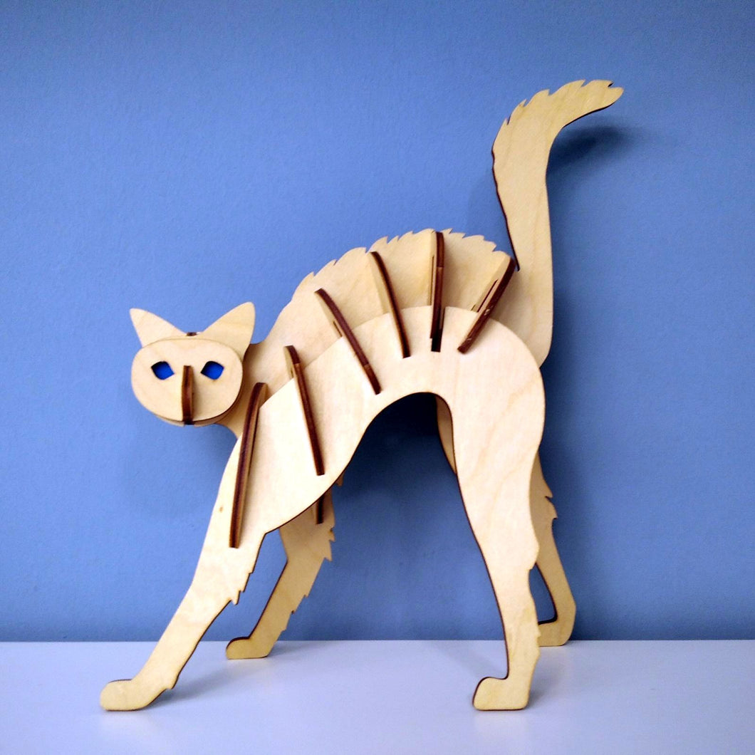 Cat 3d puzzle made from plywood with exceptional design front