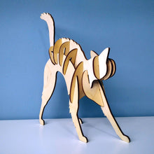 Load image into Gallery viewer, Cat 3d puzzle made from plywood with exceptional design  back view