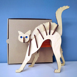 Cat 3d puzzle made from plywood with exceptional design