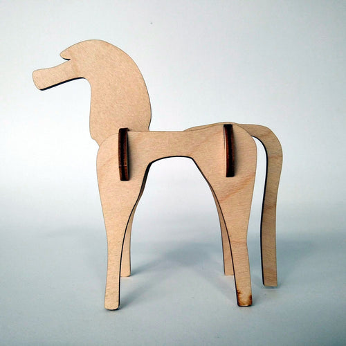 Horse small 3d plywood puzzle side