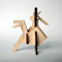 Load image into Gallery viewer, The rooster small 3d plywood puzzle inspired by Greek nature side view