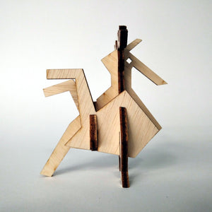 The rooster small 3d plywood puzzle inspired by Greek nature side view