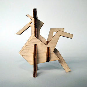 The rooster small 3d plywood puzzle inspired by Greek nature in a geometric way