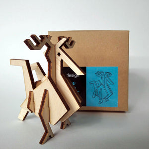 The rooster small 3d plywood puzzle inspired by Greek nature with packaging