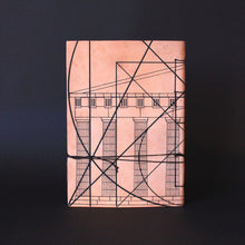 Load image into Gallery viewer, Goat leather silkscreen A6 notebook about golden ratio and Greek architecture back side