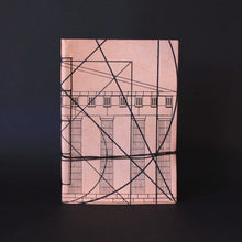 Load image into Gallery viewer, Goat leather silkscreen A6 notebook about golden ratio and Greek architecture front side