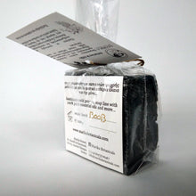 Load image into Gallery viewer, Activated charcoal three Greek oliveoil soaps in a gift box detail soap back