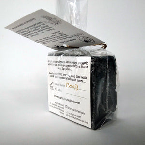 Activated charcoal three Greek oliveoil soaps in a gift box detail soap back