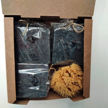Load image into Gallery viewer, Activated charcoal three Greek oliveoil soaps in a gift box inside