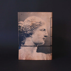 A6 notebook cretan goat leather silkscreen-Aphrodite de Milo side