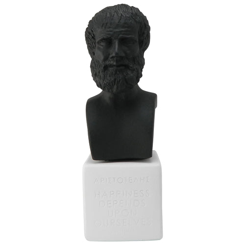 Black bust of Aristotle with quote Happiness depends upon ourselves (front)