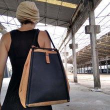 Load image into Gallery viewer, durable cork fabric backpack or shoulder bag with black leather inner zipper pocket handmade by an architect greek design