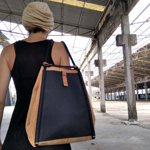 durable cork fabric backpack or shoulder bag with black leather inner zipper pocket handmade by an architect greek design