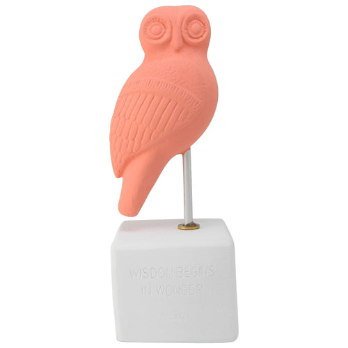 ancient greek owl figurine recplia coral color - figurine owl heron with quote about widsom and wonder (front)