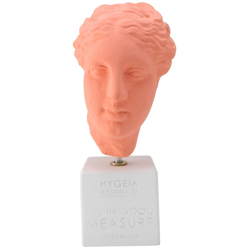 Coral colored Hygeia goddess of hygiene (Hygieia) head with quote (front)