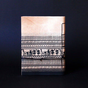 Geometric period Greek art journal, handmade of genuine cretan goatskin leather - back