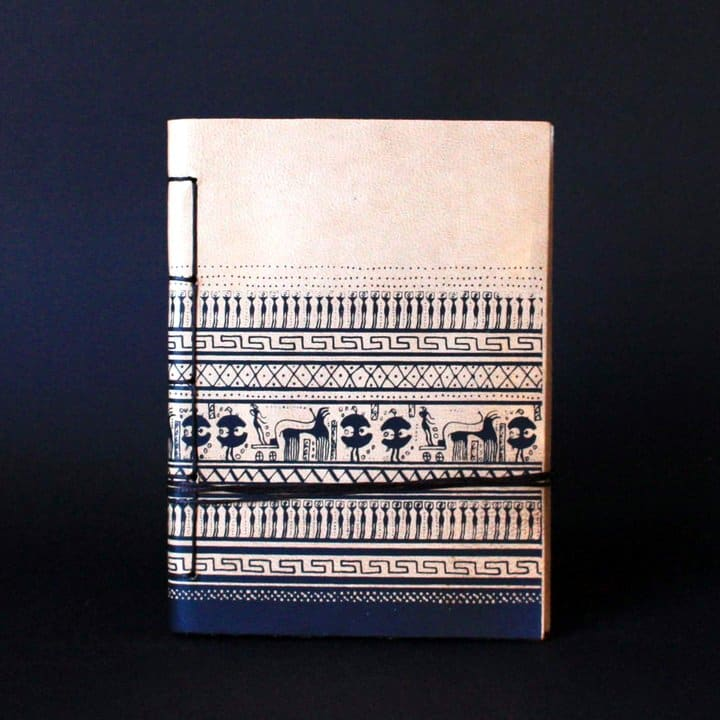 Geometric period Greek art journal, handmade of genuine cretan goatskin leather - front