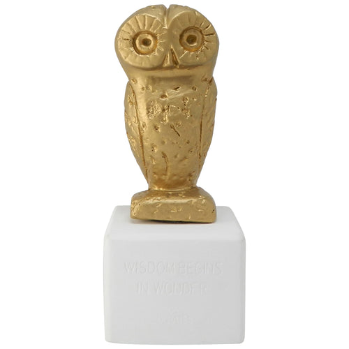 golden owl figurine - ancient greek owl replica with quote about widsom and wonder (front)