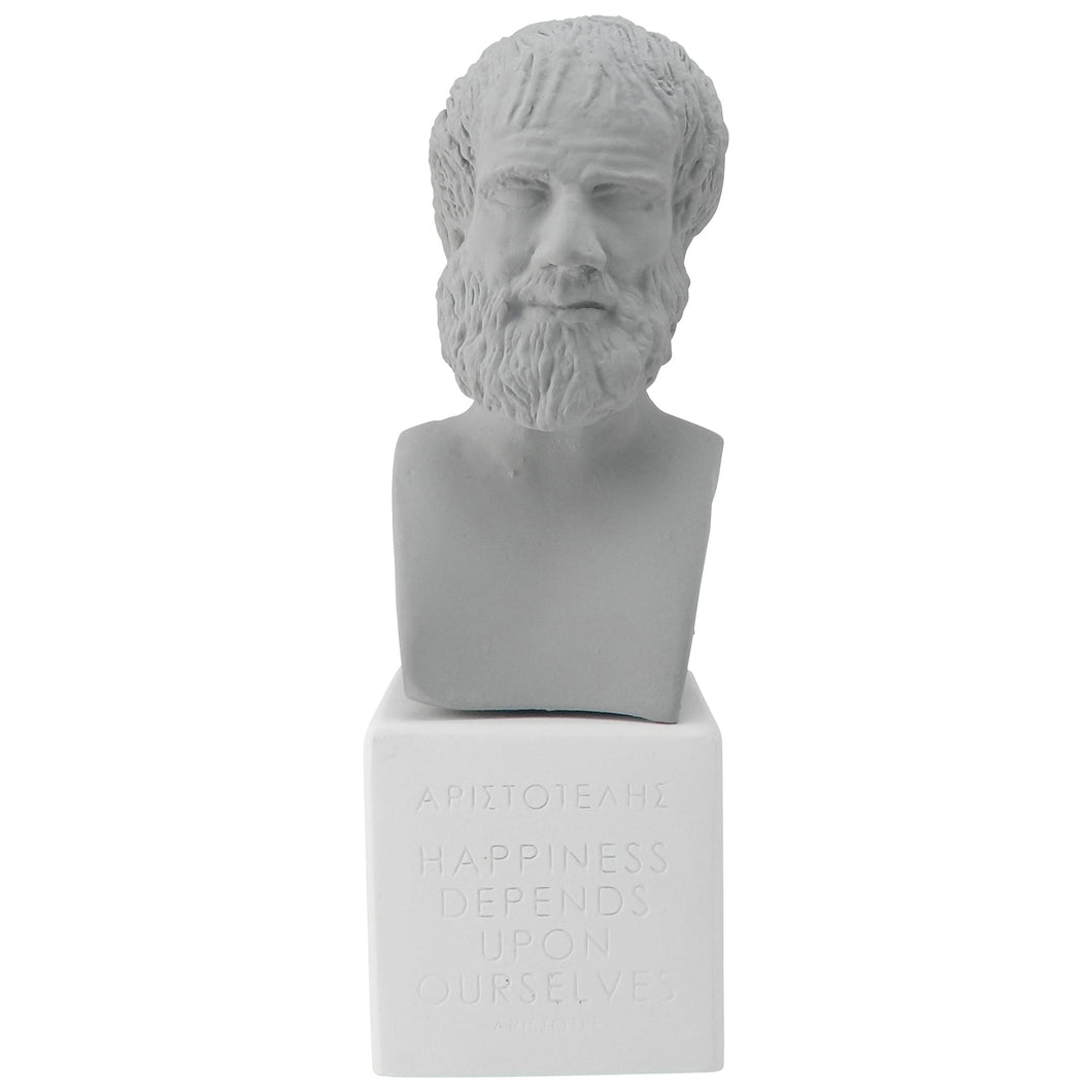 grey bust Aristotle happiness (front)