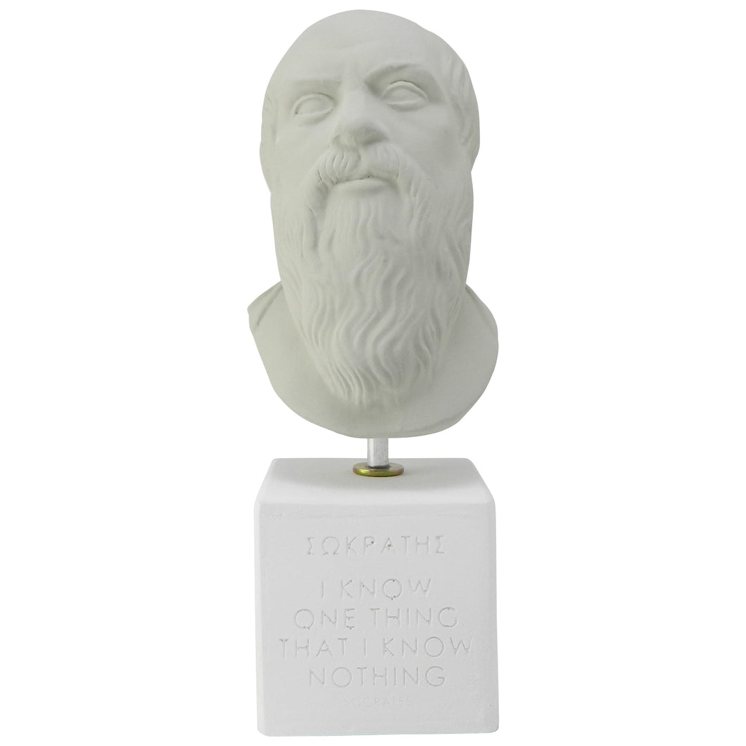 Ice Grey Bust of Socrates with quote I know one thing that i know nothing - ancient Greek philosopher (front)