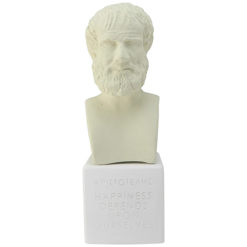 Ice White bust of Aristotle with quote Happiness depends upon ourselves (front)
