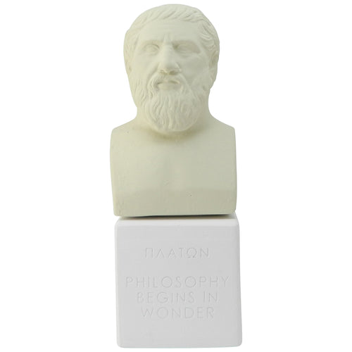 Plato Bust in ice white color with quote philosophy begins in wonder (front)