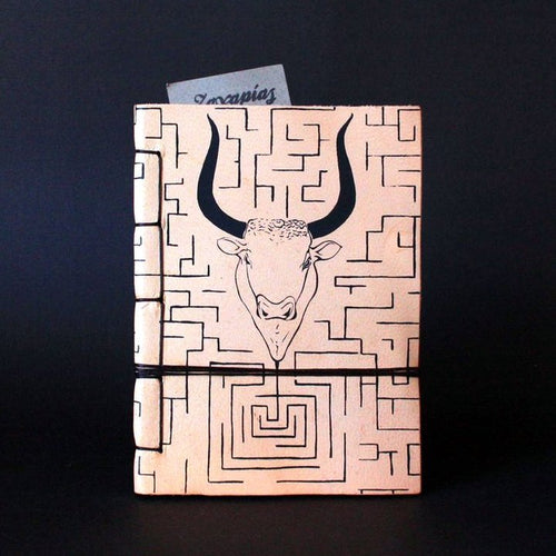 Minotaur and Labyrinth Journal handmade of Cretan goat leather and silkscreen printed front