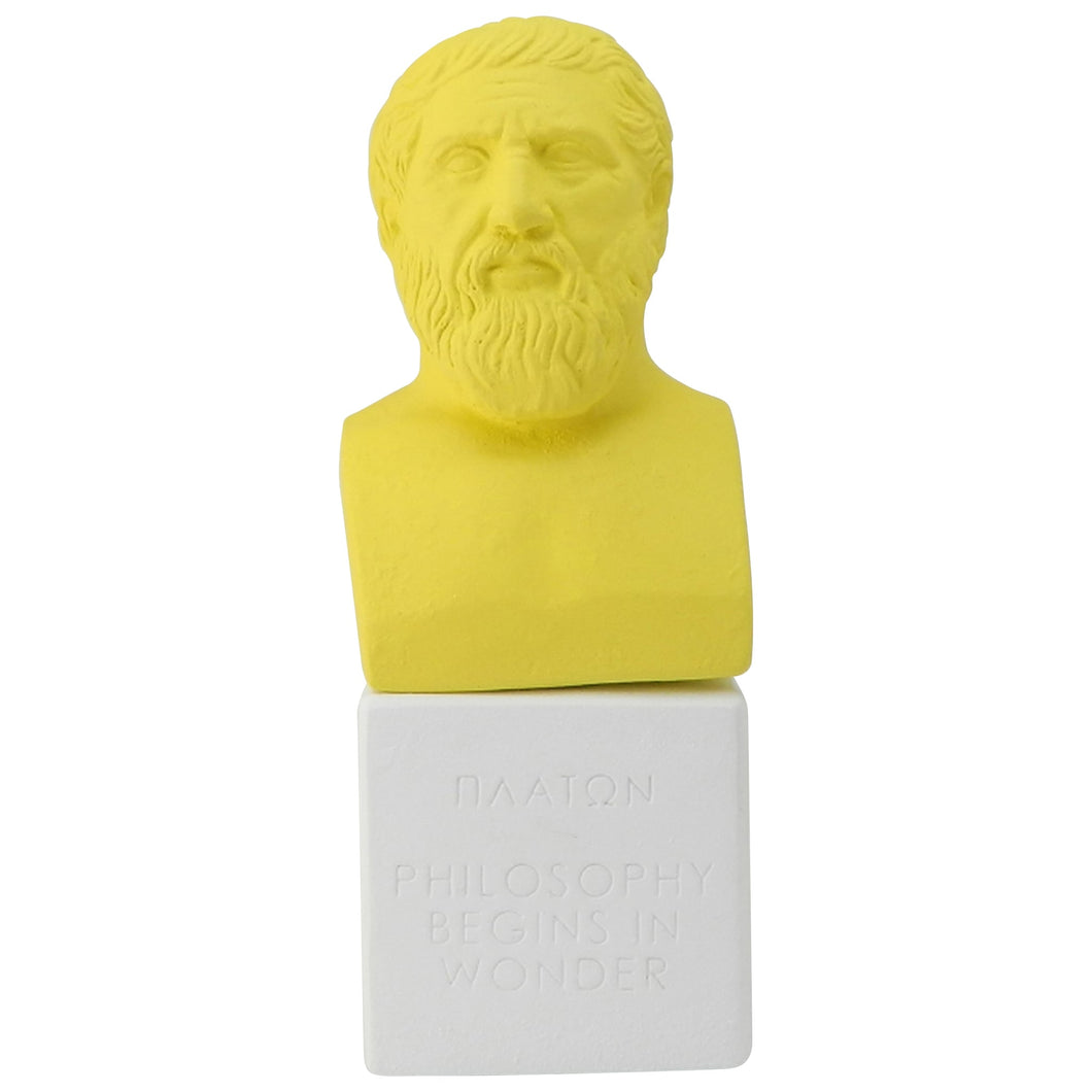 modern Plato bust in lemon color with quote philosophy begins in wonder (front)