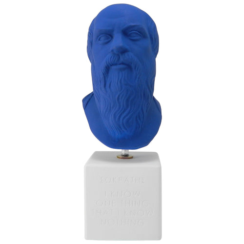 Socrates bust in modern color - ancient greek philosopher statue with quote all I know is that I know nothing (front)