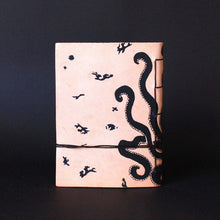 Load image into Gallery viewer, minoan culture octopus leather journal back - silkscreen print
