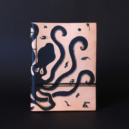 minoan culture octopus leather journal front - silkscreen print