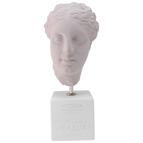 pow pink hygeia head goddess of hygiene (Hygieia)with quote about all in good measure (front) greek bust replica