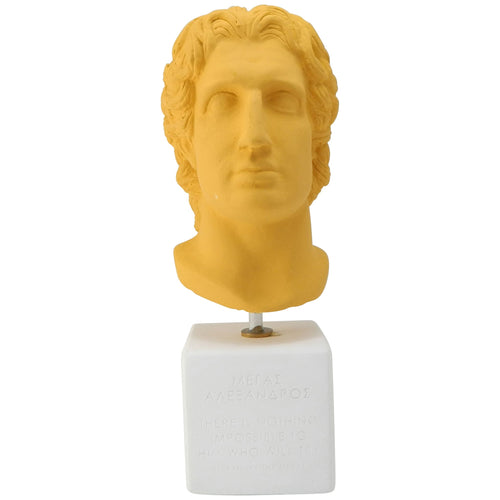 Saffron Bust Of Alexander The Great with quote There is nothing impossible to him who will try (front)
