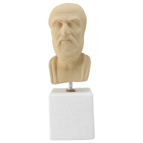 sepia bust hippocrates with quote about make a habbit (front)