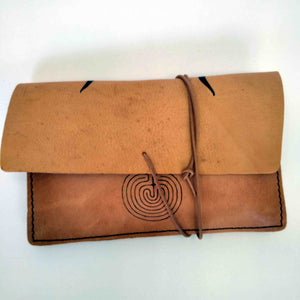 Labyrinth and Minotaur small leather tobacco pouch back