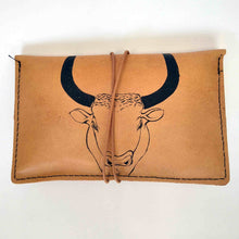 Load image into Gallery viewer, Minotaur small leather tobacco pouch front
