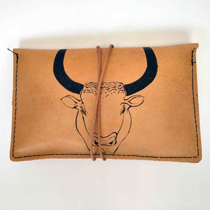 Minotaur small leather tobacco pouch front