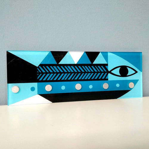 Wall plexiglass keyholder with magnets - Decorative design object.  The fish - a symbol of Greek seas.