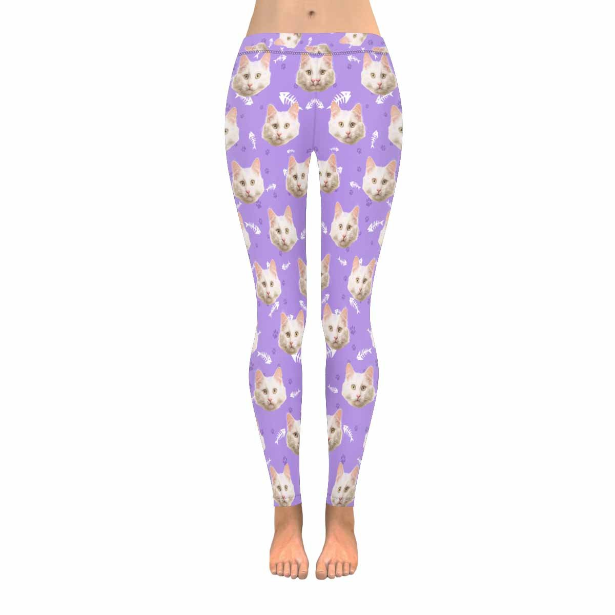 Custom Cat Face Low Rise Leggings